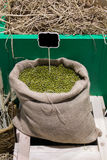 Mung beans in bag. Royalty Free Stock Photo