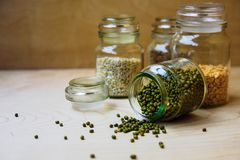 Mung beans in glass jar stock photo