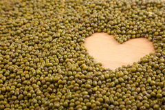 Mung  beans with heart shape Royalty Free Stock Photos