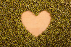 Mung beans  with heart shape space Royalty Free Stock Photo