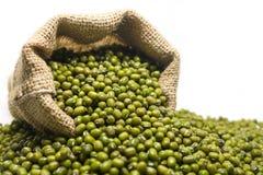 Mung beans in hemp sack bag on white background. Stock Photo