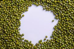 Mung Beans with Isolated White Circle Space Background. Mung beans isolated on white circle space for food background used royalty free stock photography
