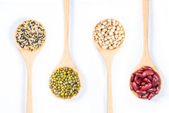 Mung beans ,red bean, soy bean and Black and White sesame Stock Photo