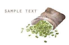 Mung beans in sackcloth with place for text Royalty Free Stock Image