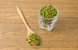 Mung Beans in A Spoon and Glass Cup Royalty Free Stock Photography