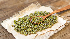 Mung beans and spoon Stock Photography