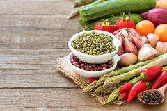 Mung beans and spoon Stock Photos