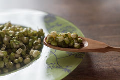 Mung beans and spoon on a wooden table close up Stock Images