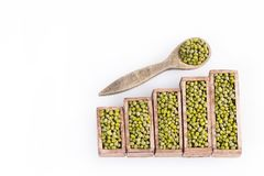 Mung beans, statistical figure - Vigna radiata. Top view. Mung beans, Statistical figure - Vigna radiata Stock Photography