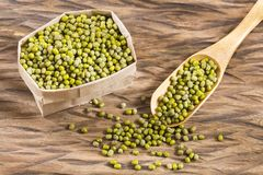 Bean Mung variety of beans in green color - Vigna radiata. Mung beans - Vigna radiata. White background stock image