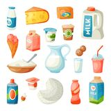 Munga i prodotti lattier-caseario nel vettore latteo di nutrizione dell'ingrediente della bevanda di stile della prima colazione  royalty illustrazione gratis