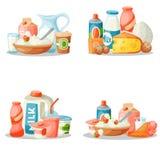 Munga la nutrizione lattea dell'ingrediente della bevanda di stile di vettore dei prodotti lattier-caseario della prima colazione illustrazione di stock