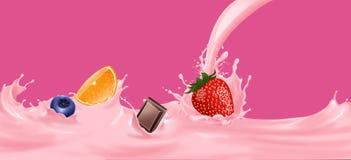Munga la spruzzata con la fragola, l'arancia, il cioccolato, mirtillo immagini stock