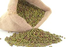 Mungo beans. A sack of mungo beans on white background Stock Photo