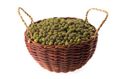 Mungo Beans. In wicker basket isolated on white Stock Photo