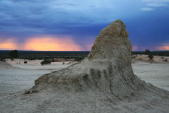 Mungo National Park NSW Australia. Storm approaching with clouds and colourful sky at mungo national park Stock Photo
