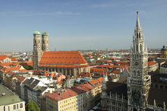 Munic. The inner city of munich with lady´s church and city hall Stock Images