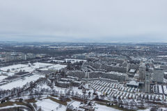 MUNICH – JANUARY 30: Aerial view of Munich. On a cloudy day Royalty Free Stock Photography