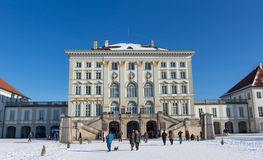 MUNICH – JANUARY 28: Beautiful view of Nymphenburg Palace in win. Ter with snow, in Munich, Bavaria Stock Photo