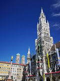 Munich. Square of medieval city (Marienplatz) with the monument and city hall in Munich Royalty Free Stock Images