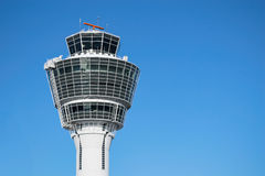 Munich air traffic control tower against clear blue sky Royalty Free Stock Photography