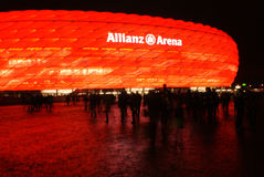 Munich Allianz Arena. During matches, the allianz arena football stadium is illuminated with the bayern team colours stock images