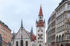 The beautiful Old Town Hall at Marienplatz Square, Munich - Germany stock images
