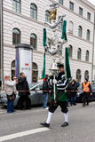 MUNICH, BAVARIA, GERMANY -  MARCH 13, 2016: Flutists in clothes of the Middle Ages at the St. Patrick`s Day Parade. The name of th. E band is Spielmannszug Stock Image