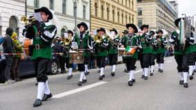 MUNICH, BAVARIA, GERMANY -  MARCH 13, 2016: Flutists in clothes of the Middle Ages at the St. Patrick`s Day Parade. The name of th. E band is Spielmannszug Royalty Free Stock Photo