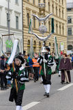 MUNICH, BAVARIA, GERMANY -  MARCH 13, 2016: Flutists in clothes of the Middle Ages at the St. Patrick`s Day Parade. The name of th. E band is Spielmannszug Stock Photography