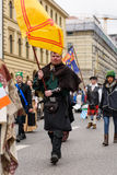 MUNICH, BAVARIA, GERMANY -  MARCH 13, 2016: People in clothes of the Middle Ages at the St. Patrick`s Day Parade.  Royalty Free Stock Photography