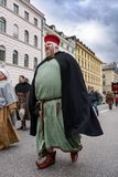 MUNICH, BAVARIA, GERMANY - MARCH 13, 2016: People in clothes of the Middle Ages at the St. Patrick`s Day Parade.  stock photography