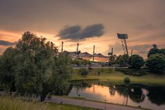 MUNICH, BAVARIA - GERMANY - MAY 30 2017: Olympic Park. Olympic Stadium Munich. View to Olympic Stadium from top point. Evening