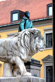 Munich, Bavarian Lion Statue in front of Feldherrnhalle, Bavaria Royalty Free Stock Photos