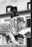 Munich, Bavarian Lion Statue in front of Feldherrnhalle, Bavaria Royalty Free Stock Images