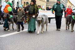 MUNICH, BAVIERA, ALEMANIA - 13 DE MARZO DE 2016: grupo de personas en ropa céltica con los perros lobo en el desfile del día del  Imagen de archivo libre de regalías