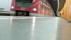 MUNICH BAYERN, GERMANY, EUROPE - JULY 02 . 2018 Railway public Transport. Railway public Transport platform railway, railroad   S-bahn train departing at Munich stock footage