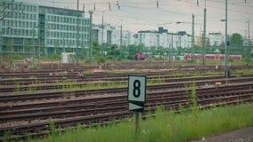 Munich Bayern, Germany, Europe - July 02 . 2018 Railway public Transport. Railway public Transport platform railway, railroad   tracks at Munich Train station stock video