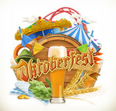 Munich Beer Festival Oktoberfest, the vector can also be used by any beer manufacturers. Amusement park, tent Royalty Free Stock Photos