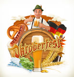 Munich Beer Festival Oktoberfest, the vector can also be used by any beer manufacturers. Barrel, pretzel, beverage, hop, malt Royalty Free Stock Photo
