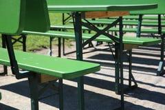 Munich Beer Garden. Empty chairs in Munich Beer Garden stock image