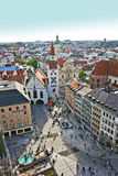 Munich: birds-eye view of Marienplatz with the old Stock Images