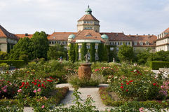 Munich-botanic garden. Part of the botanic garden in munich with opulent blooming summer-flowers royalty free stock images