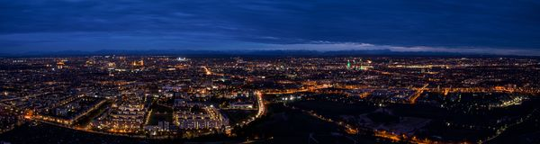 Munich center cityscape night panoramic aerial view Stock Image