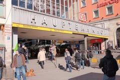 Munich central station entrance Stock Photo