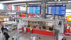 Munich central station info point stock footage