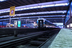 Munich central train station at the blue hour Stock Photo
