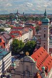 Munich city center and old town skyline view, roofs and spires.  stock image
