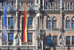 Munich City Hall with Flags Stock Photo