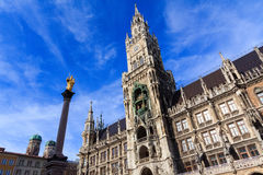Munich city hall and statue Stock Photo